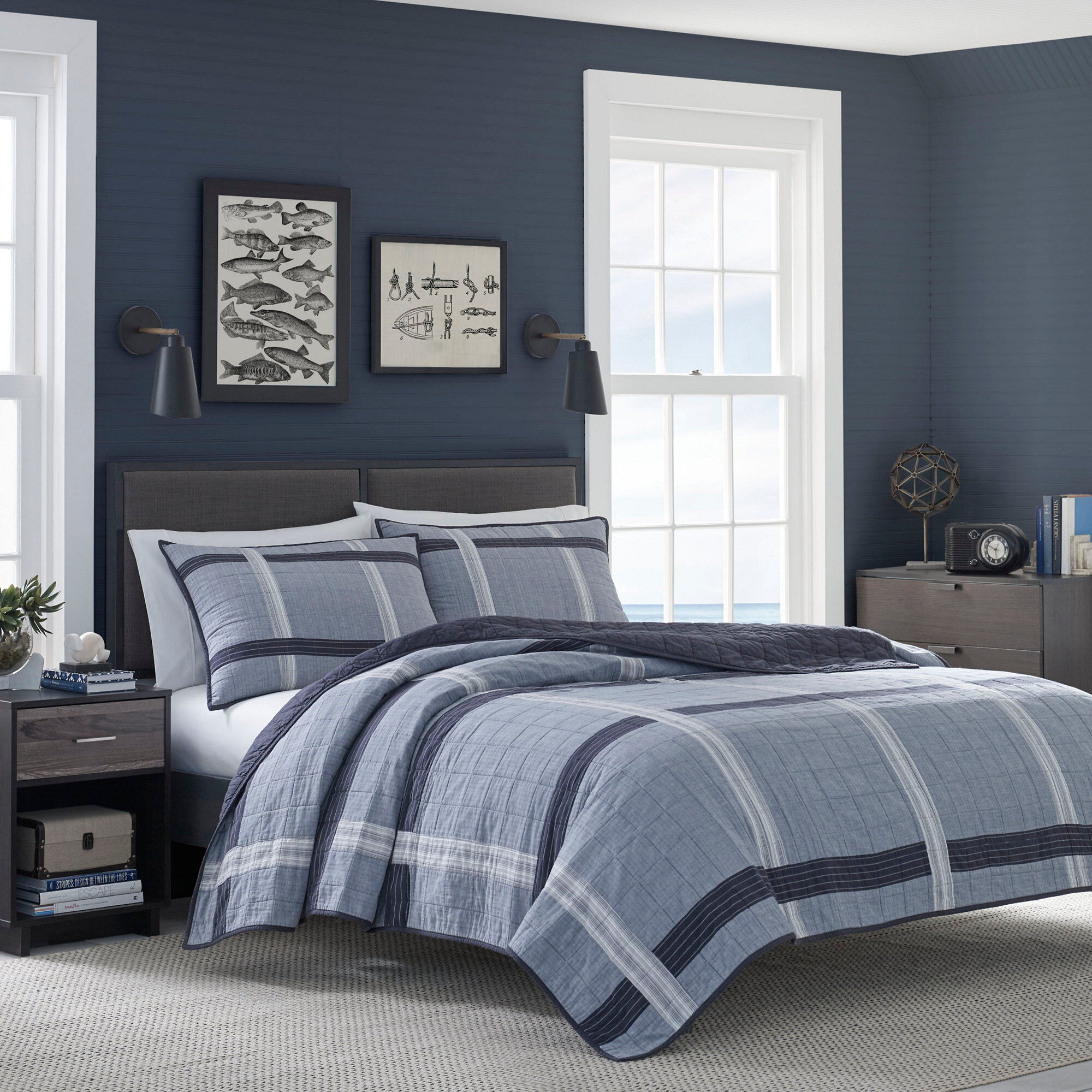 Nautica River Breeze Gray Quilt