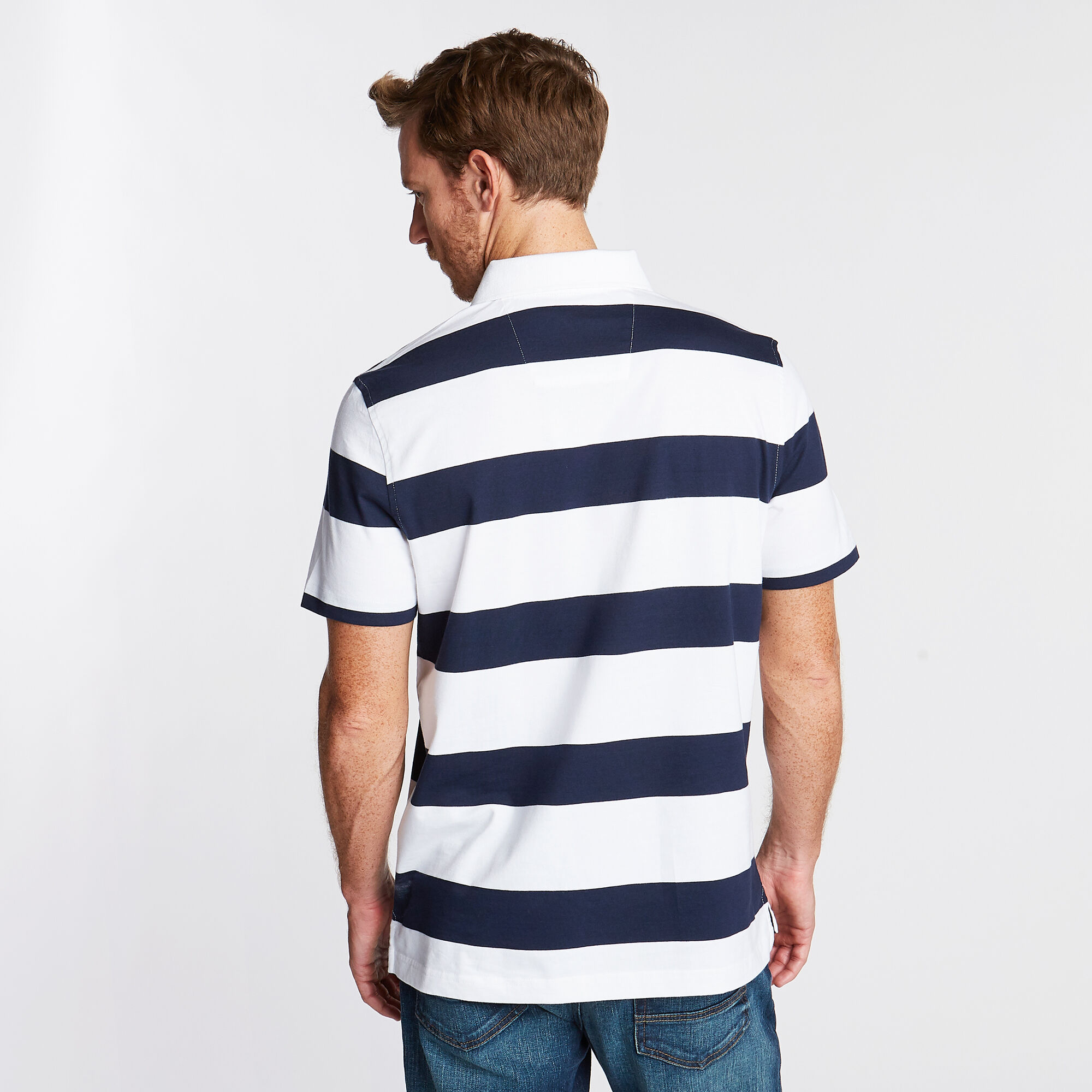 Nautica Mens Stripe Classic Fit Polo