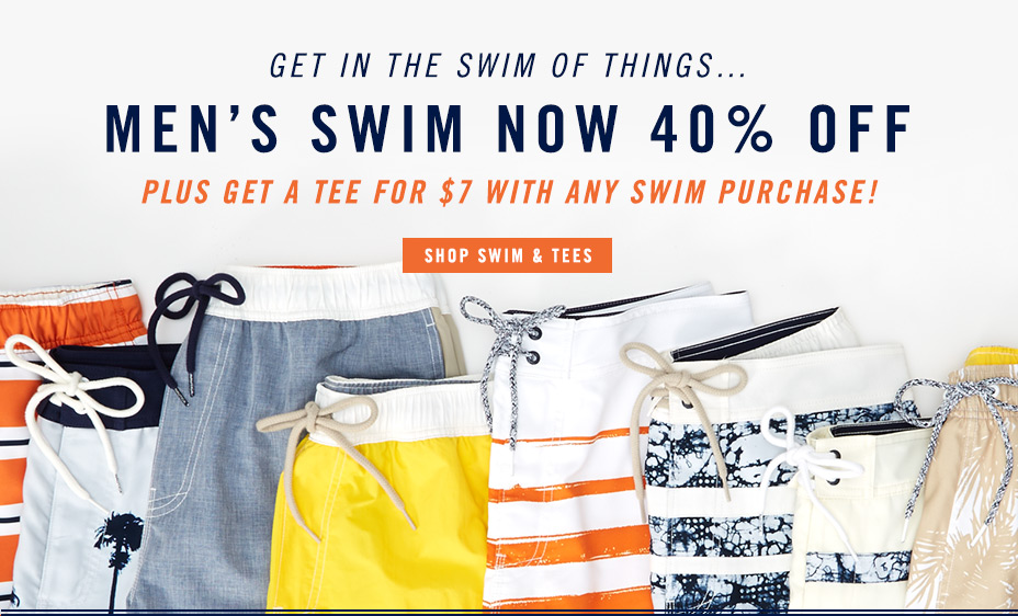 Men's Swim Now 40% Off