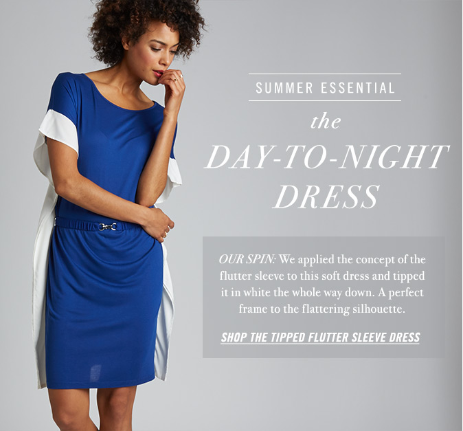 The Day to Night Dress - Shop the Tipped Flutter Sleeve Dress