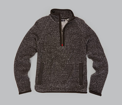 MIXED MEDIA HALF ZIP PULLOVER