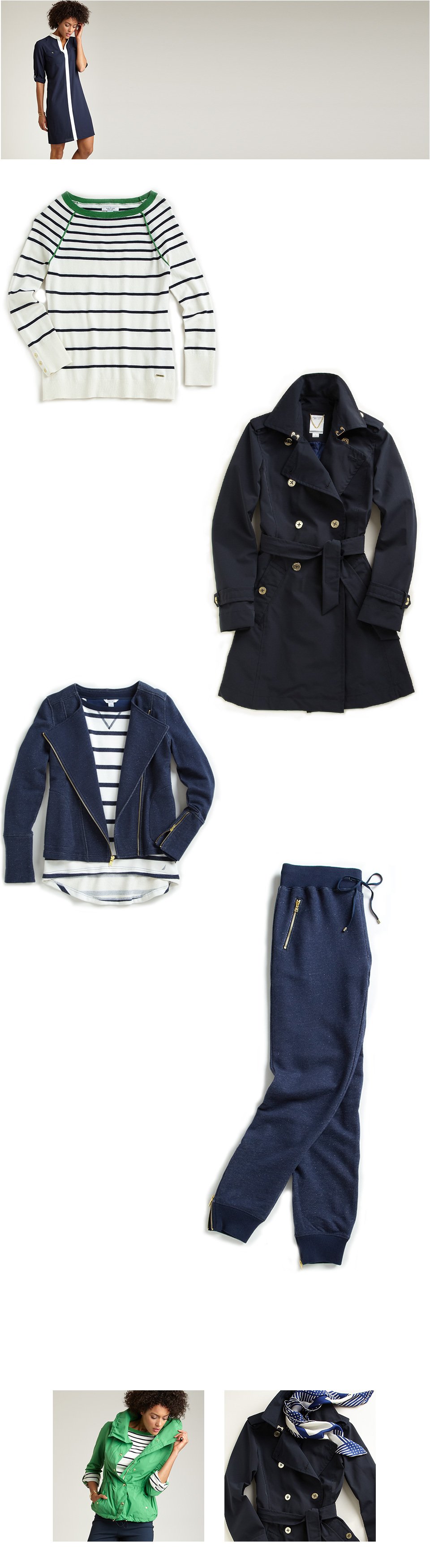 Women's Five Things: The Striped Raglan Sweater, The Double Breasted Trench Coat, The French Terry Moto Jacket, THe French Terry Lounge Pant.