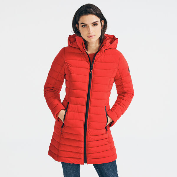 LIGHTWEIGHT QUILTED STRETCH HOODED COAT - Tomales Red
