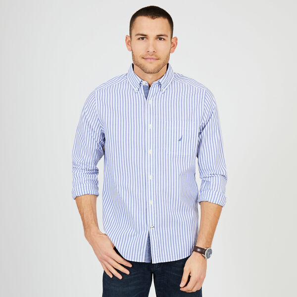 Big & Tall Classic Fit Striped Poplin Shirt - Bluefish