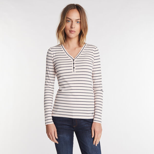 STRIPE RIBBED HENLEY - Royal Burgundy