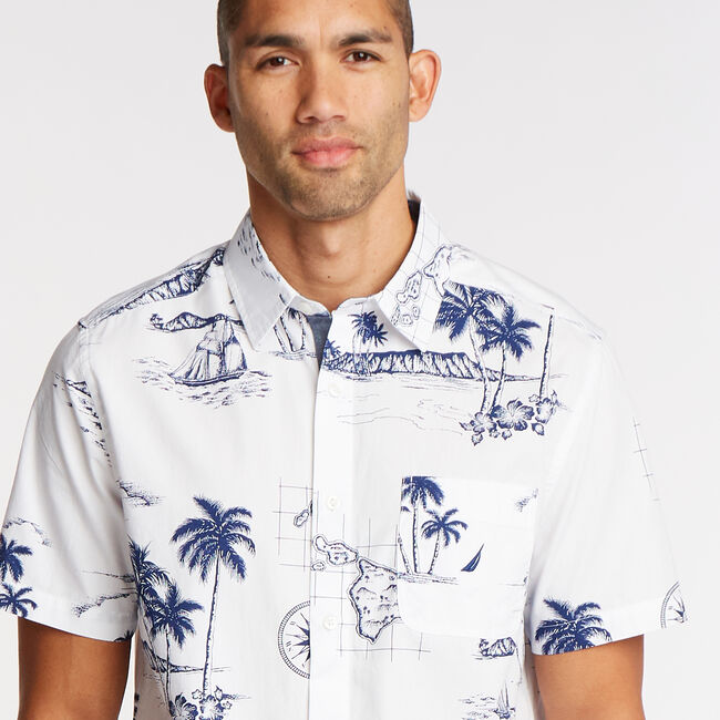 Short Sleeve Classic Fit Shirt in Sail Print,Bright White,large