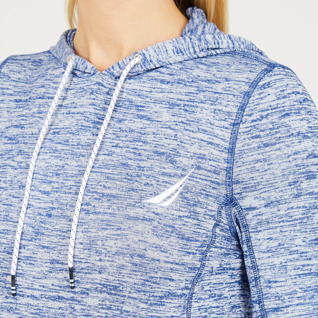 Sail-Knit Pullover Drawstring Hoodie,Nautica Blue,large