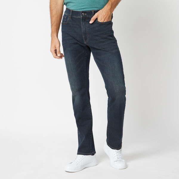STRETCH STRAIGHT FIT DENIM IN HAZE BLUE WASH - Marine Blue