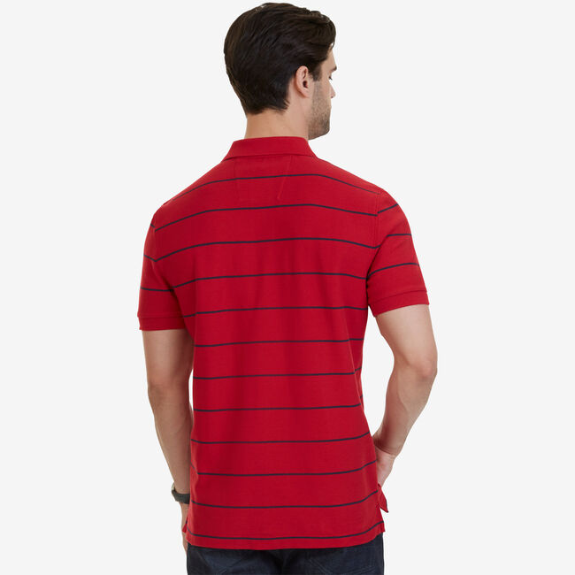 Classic Fit Striped Performance  Polo Shirt,Nautica Red,large