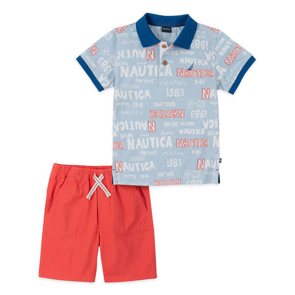 TODDLER BOYS' LOGO GRAPHIC POLO 2PC SHORT SET (2T-4T) - Ice Blue