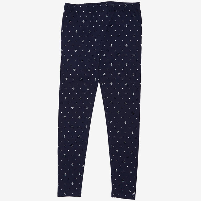 Little Girls' Anchor Dot Leggings (2T-7),Navy,large