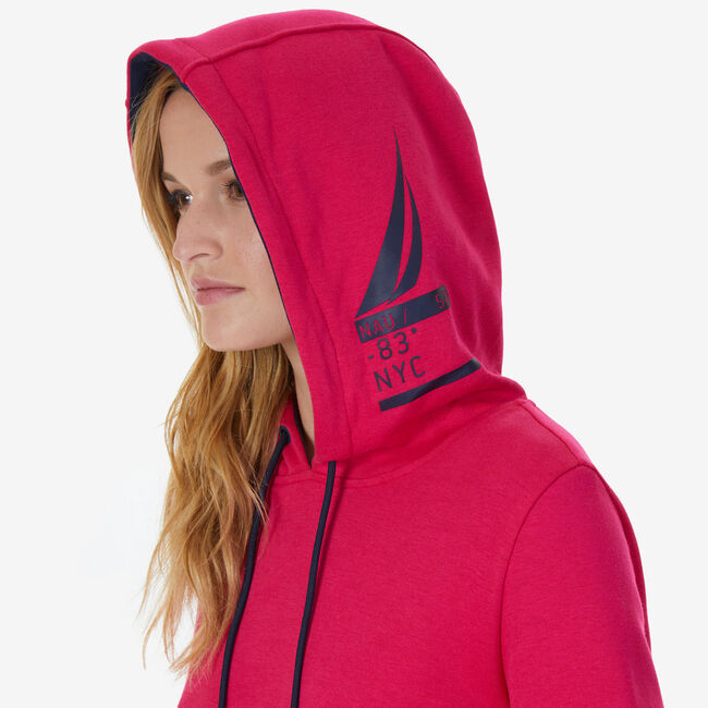 Pullover Arm Stripe Hoodie,Sailor Red,large