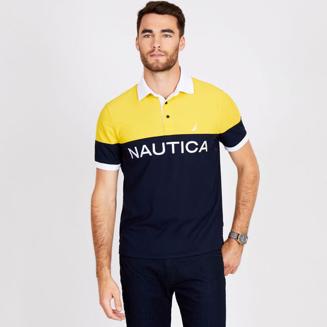 Navtech Classic Fit Short Sleeve Colorblock Polo,Navy,large