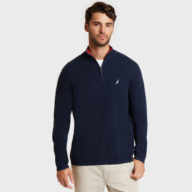 Long Sleeve Quarter-Zip Sweater,Pure Dark Pacific Wash,large