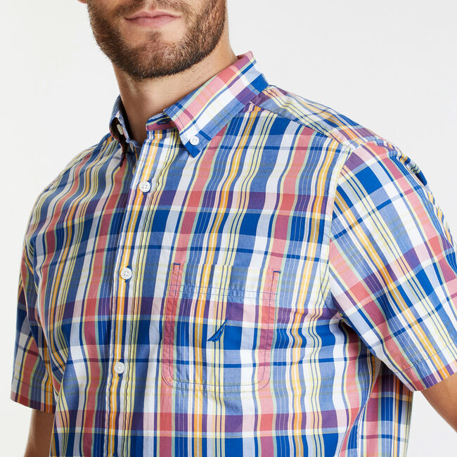 SHORT SLEEVE CLASSIC FIT SHIRT IN MULTI COLOR PLAID,Bluefish,large