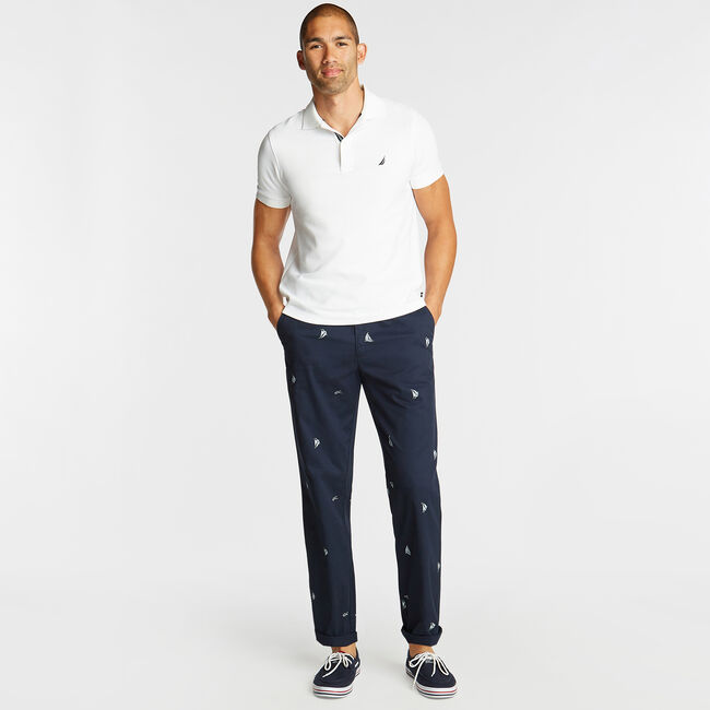 CLASSIC FIT TWILL PANT IN SAILBOAT PRINT,Navy,large