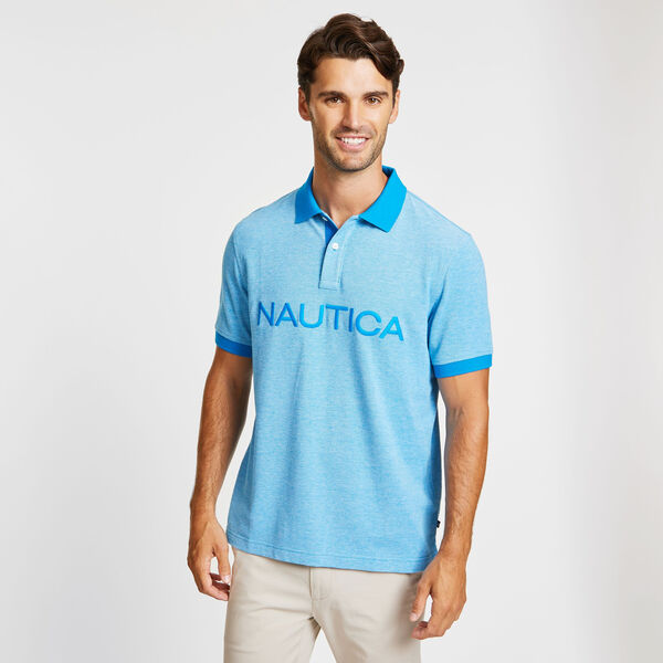 Big & Tall Kailua Short Sleeve Logo Classic Fit Polo - Capri Blue