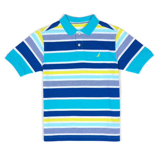 Boys' Laguna Multicolor Stripe Polo (8-20),Delphinium Blue,large