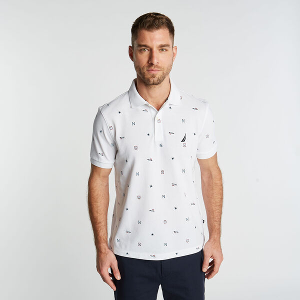 CLASSIC FIT MARITIME PRINT POLO - Bright White
