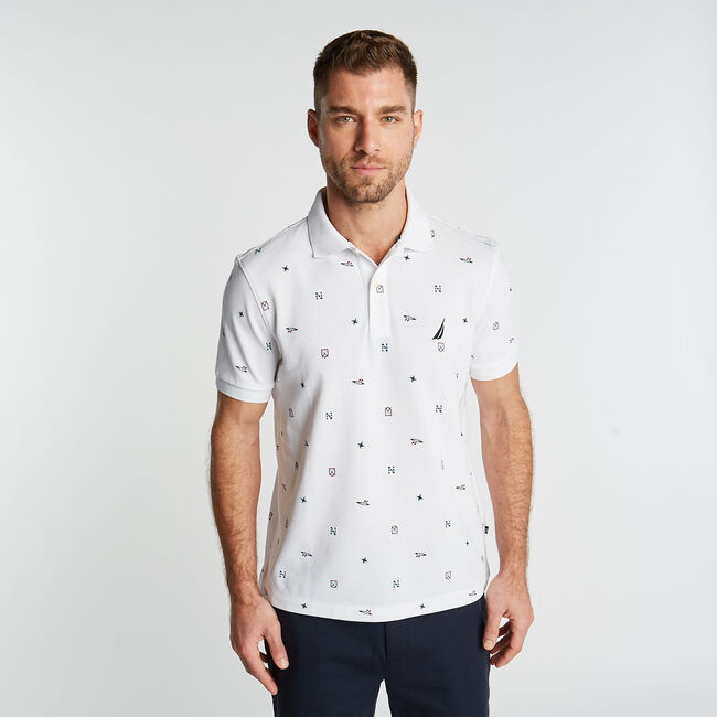 CLASSIC FIT POLO IN MARITIME PRINT,Bright White,large