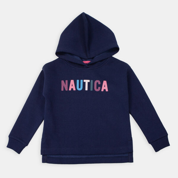 LITTLE GIRLS' STRIPED-CUFF LOGO HOODIE (4-7) - Navy