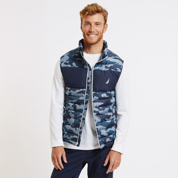 INSULATED CAMO MARITIME PRINT VEST - Sea Mist