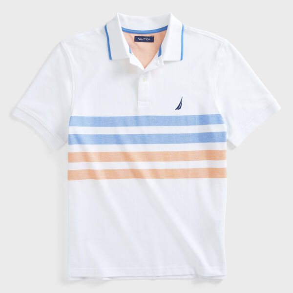 CLASSIC FIT STRIPE OXFORD POLO - Bright White