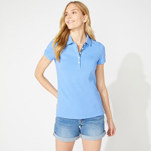 CLASSIC FIT CHAMBRAY COLLAR POLO - Blue Stern
