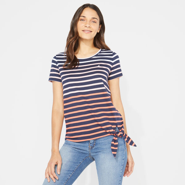 OMBRE STRIPE TIE-FRONT TOP - Stellar Blue Heather