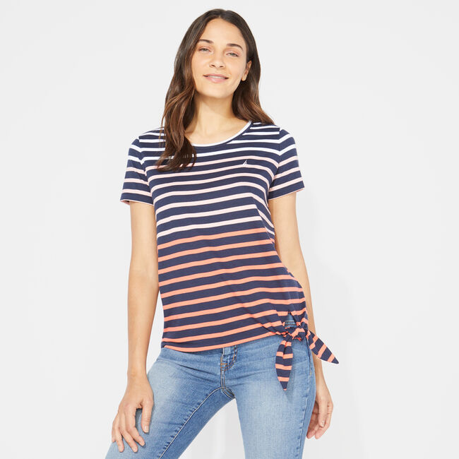 OMBRE STRIPE TIE-FRONT TOP,Stellar Blue Heather,large
