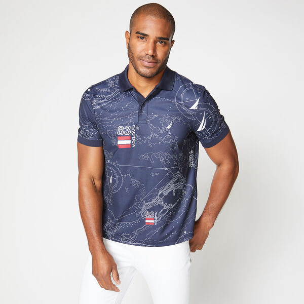CLASSIC FIT PRINT POLO - Navy