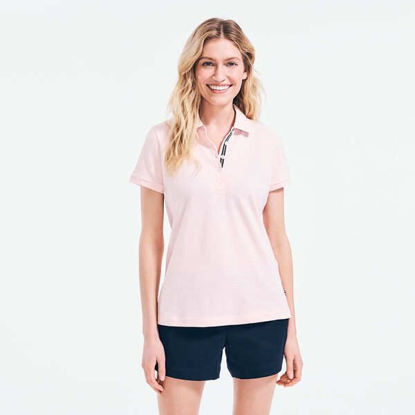 CLASSIC FIT CHAMBRAY COLLAR POLO - Fancytail Fuschia