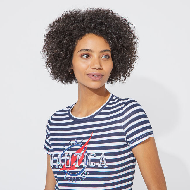 STRIPED NAUTICA EMBROIDERED TEE,Bright White,large