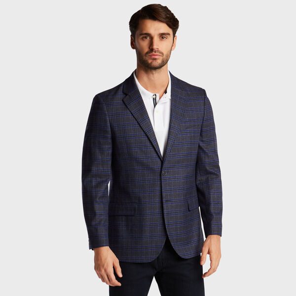 BRANFORD STRETCH BLAZER IN NAVY MULTI PLAID - Tugboat Blue
