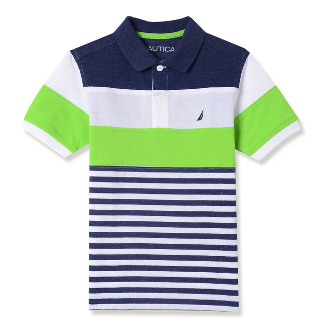 Little Boys' Blake Striped Polo (4-7),Biscayteal,large
