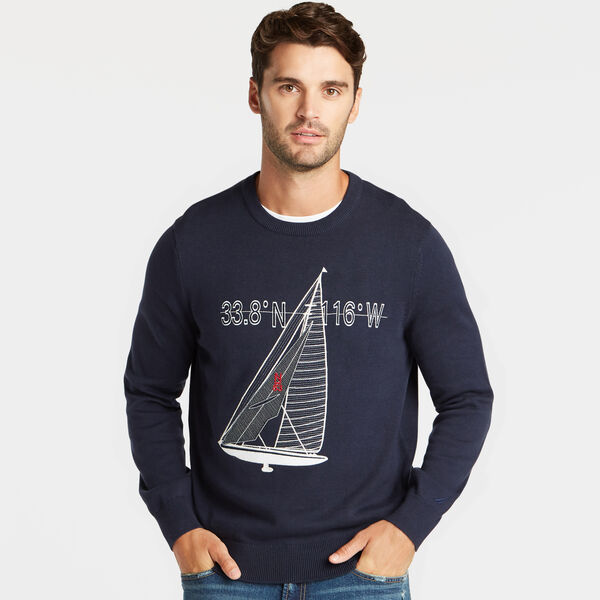SAILBOAT APPLIQUE CREWNECK SWEATER - Pure Dark Pacific Wash