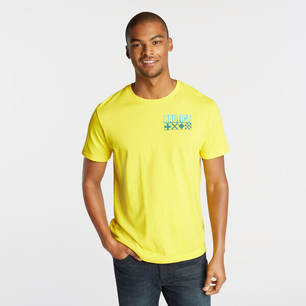 FLAG BOARDER FLOCKED GRAPHIC T-SHIRT - Pulp Yellow