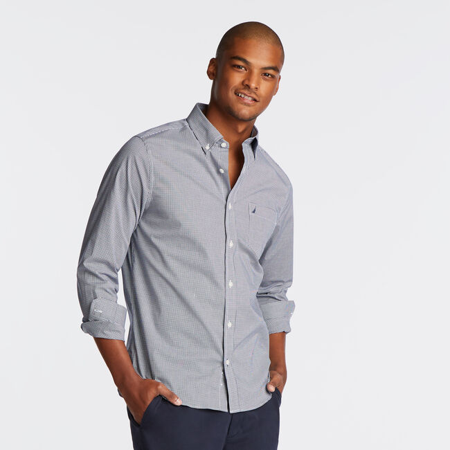 Wrinkle-Resistant Slim Fit Shirt in Gigham,Monaco Blue,large