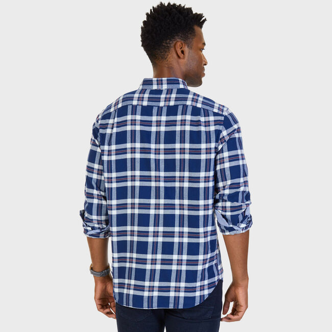 Classic Fit Royal Plaid Flannel Button Down,Marine Blue,large