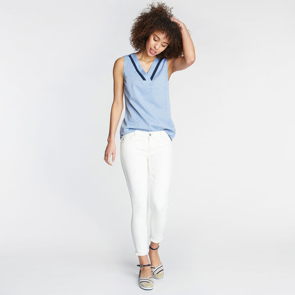 SLEEVELESS CHAMBRAY TOP - Bluefish