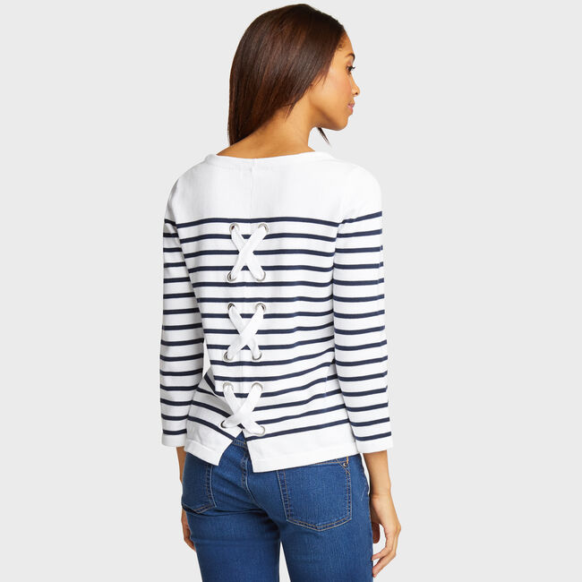 Lace-Up Back Striped Sweater,Bright White,large