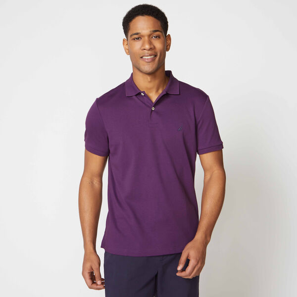 SLIM FIT INTERLOCK POLO - Blackberry