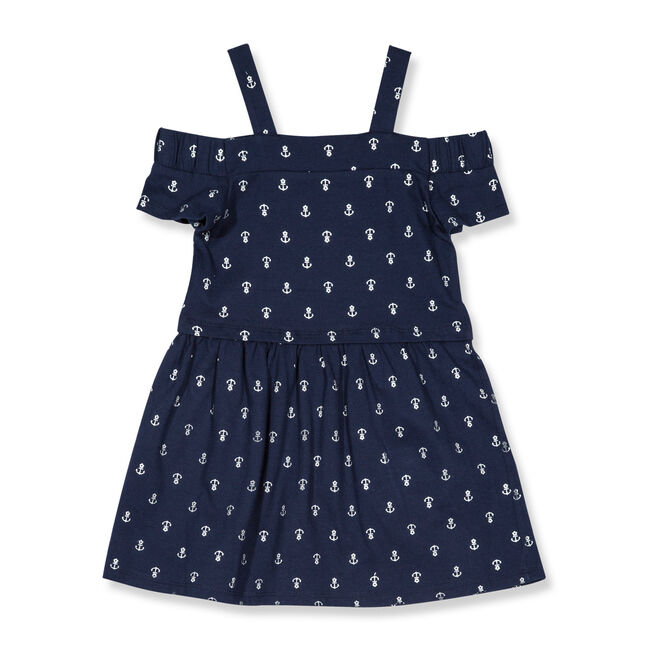 Off-the-Shoulder Anchor Print Dress (2T-4T),Navy,large