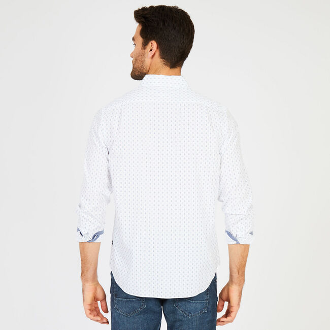 Classic Fit Anchor Print Long Sleeve Button Down,Bright White,large