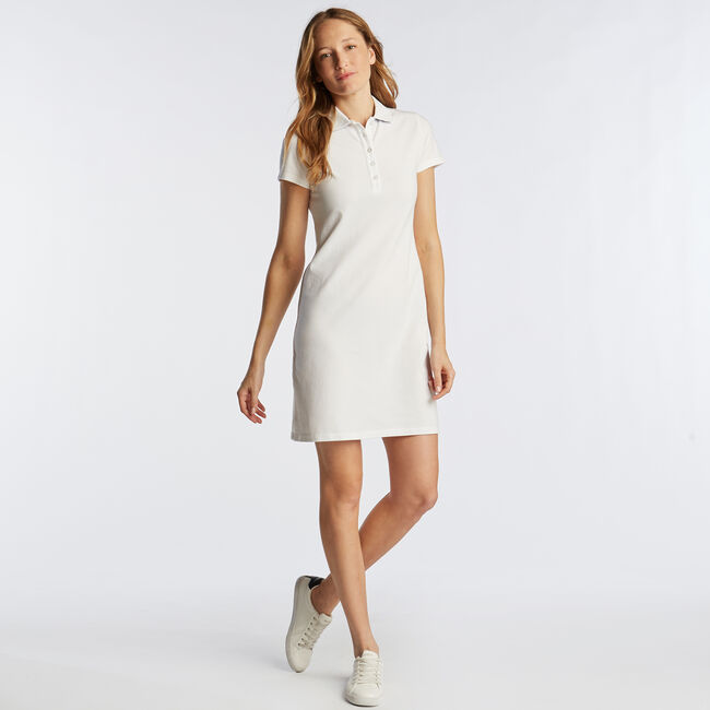 Short Sleeve Polo Dress,Bright White,large