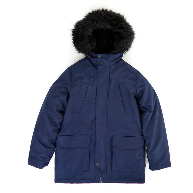 Boys' Expedition Hooded Snorkel Coat with Fur (8-20),Sport Navy,large