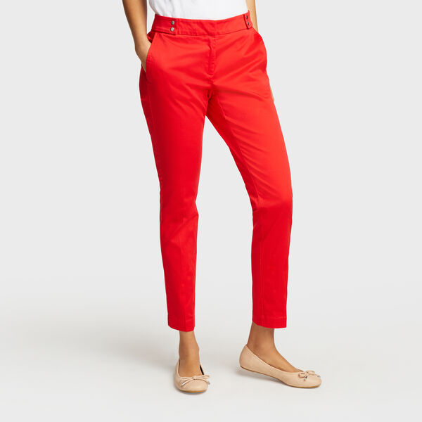 Ankle Length Pants With Snap-Tab Waist - Tomales Red