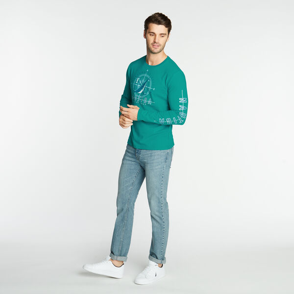 LONG SLEEVE JERSEY T-SHIRT IN OCEANOGRAPHY GRAPHIC - Gulf Coast Teal