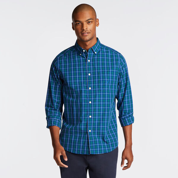CLASSIC FIT POPLIN SHIRT IN DEEP BLUE PLAID - Clear Sky Blue