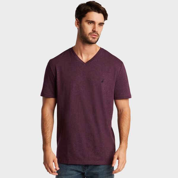 SOLID V-NECK SLIM FIT TEE - Majestic Purple